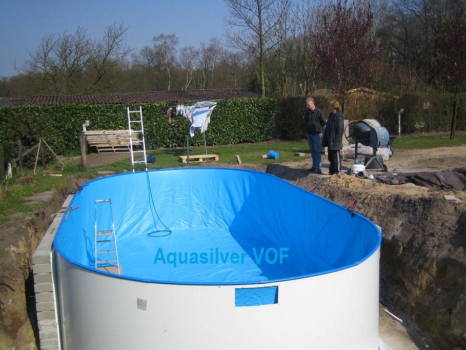 Folie liner ovaal 120 en 150cm for Kostprijs polyester zwembad